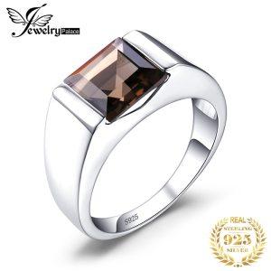 JewPalace Genuine Smoky Quartz Ring 925 Sterling Silver Rings for men Wedding Rings Silver 925 Gemstones Innrech Market.com