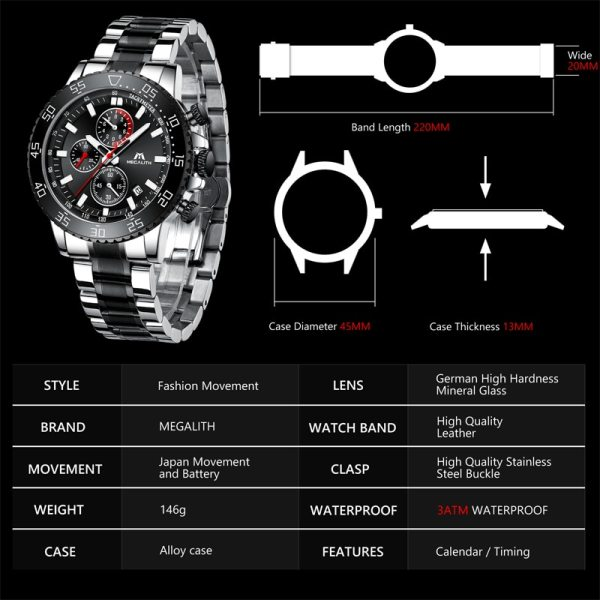 MEGALITH Military Watches Men Stainless Steel Band Waterproof Quartz Wristwatch Chronograph Clock Male Fashion Sports Watch 4 MEGALITH Military Watches Men Stainless Steel Band Waterproof Quartz Wristwatch Chronograph Clock Male Fashion Sports Watch 8087