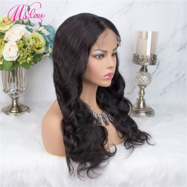 Ms Love 4X4 Lace Closure Human Hair Wigs Body Wave Brazilian Human Hair Wigs For Black 1 Ms Love 4X4 Lace Closure Human Hair Wigs Body Wave Brazilian Human Hair Wigs For Black Women Natural Color Non Remy Wig