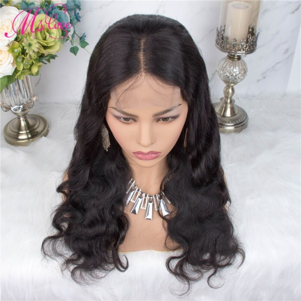 Ms Love 4X4 Lace Closure Human Hair Wigs Body Wave Brazilian Human Hair Wigs For Black 3 Ms Love 4X4 Lace Closure Human Hair Wigs Body Wave Brazilian Human Hair Wigs For Black Women Natural Color Non Remy Wig