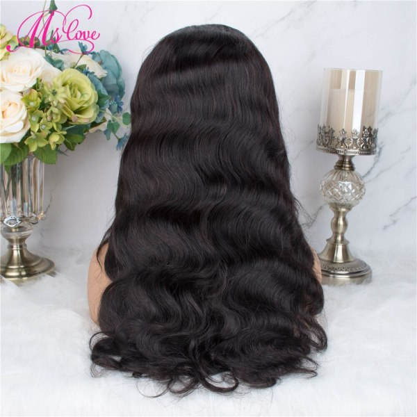 Ms Love 4X4 Lace Closure Human Hair Wigs Body Wave Brazilian Human Hair Wigs For Black 4 Ms Love 4X4 Lace Closure Human Hair Wigs Body Wave Brazilian Human Hair Wigs For Black Women Natural Color Non Remy Wig