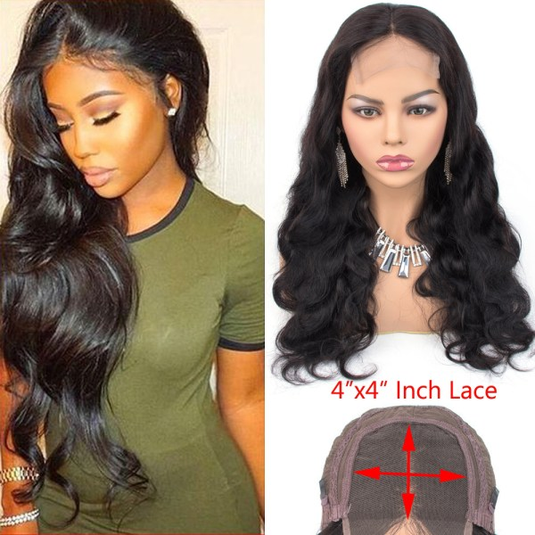 Ms Love 4X4 Lace Closure Human Hair Wigs Body Wave Brazilian Human Hair Wigs For Black Ms Love 4X4 Lace Closure Human Hair Wigs Body Wave Brazilian Human Hair Wigs For Black Women Natural Color Non Remy Wig