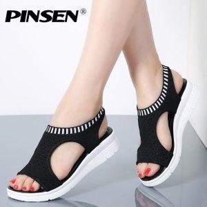 PINSEN Women Sandals 2019 New Female Shoes Woman Summer Wedge Comfortable Sandals Ladies Slip on Flat Innrech Market.com