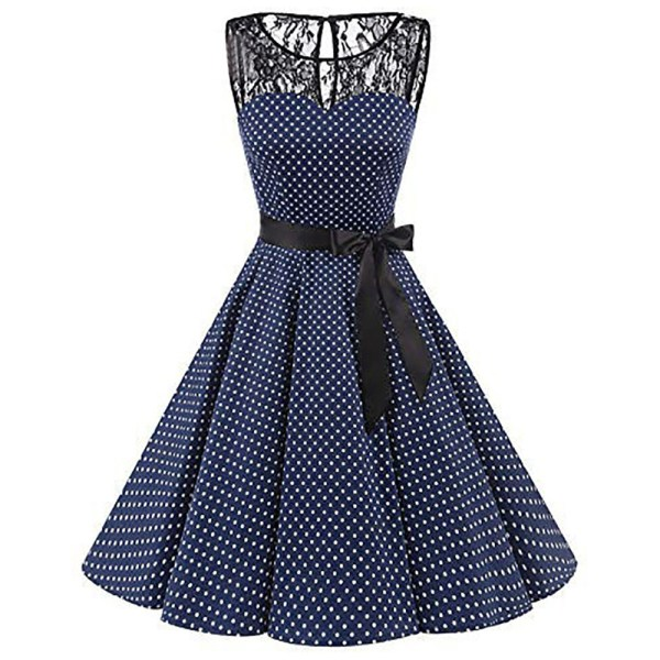 Sleeper 401 2018 Women Sleeveless Polka Dot Lace Hepburn Vintage Swing High Waist Pleated Dress solid 1 Sleeper #401 2018 Women Sleeveless Polka Dot Lace Hepburn Vintage Swing High-Waist Pleated Dress solid design hot Drop Shipping