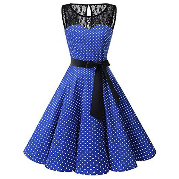 Sleeper 401 2018 Women Sleeveless Polka Dot Lace Hepburn Vintage Swing High Waist Pleated Dress solid 2 Sleeper #401 2018 Women Sleeveless Polka Dot Lace Hepburn Vintage Swing High-Waist Pleated Dress solid design hot Drop Shipping