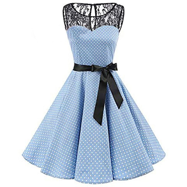 Sleeper 401 2018 Women Sleeveless Polka Dot Lace Hepburn Vintage Swing High Waist Pleated Dress solid 3 Sleeper #401 2018 Women Sleeveless Polka Dot Lace Hepburn Vintage Swing High-Waist Pleated Dress solid design hot Drop Shipping