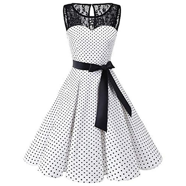 Sleeper 401 2018 Women Sleeveless Polka Dot Lace Hepburn Vintage Swing High Waist Pleated Dress solid Sleeper #401 2018 Women Sleeveless Polka Dot Lace Hepburn Vintage Swing High-Waist Pleated Dress solid design hot Drop Shipping
