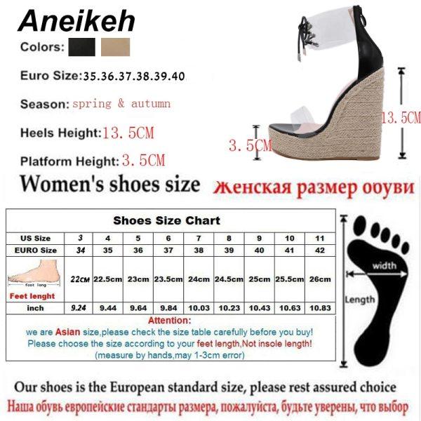 Aneikeh Fashion PVC Sandal Women Transparent Sandals Lace Up Wedges High Heels Black Gold Party Daily 5 Aneikeh Fashion PVC Sandal Women Transparent Sandals Lace-Up Wedges High Heels Black Gold Party Daily Pumps Shoes Size 35-40