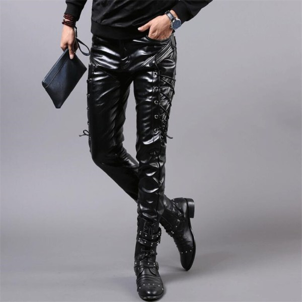 MORUANCLE New Winter Mens Skinny Biker Leather Pants Fashion Faux Leather Motorcycle Trousers For Male Stage 1 MORUANCLE New Winter Mens Skinny Biker Leather Pants Fashion Faux Leather Motorcycle Trousers For Male Stage Club Wear