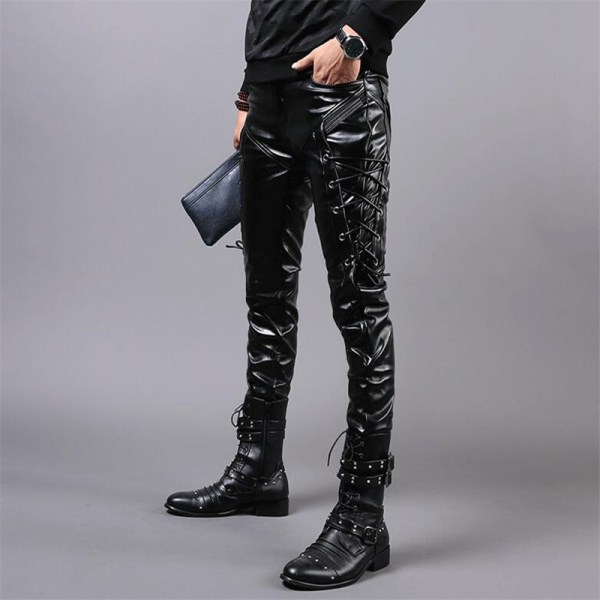 MORUANCLE New Winter Mens Skinny Biker Leather Pants Fashion Faux Leather Motorcycle Trousers For Male Stage 2 MORUANCLE New Winter Mens Skinny Biker Leather Pants Fashion Faux Leather Motorcycle Trousers For Male Stage Club Wear