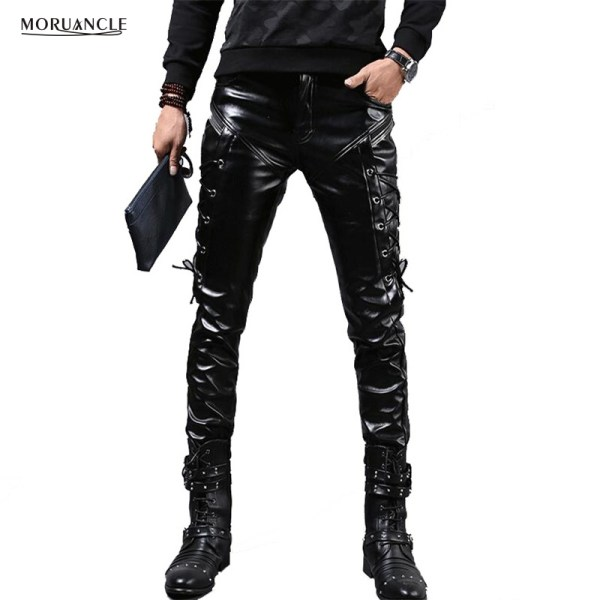 MORUANCLE New Winter Mens Skinny Biker Leather Pants Fashion Faux Leather Motorcycle Trousers For Male Stage MORUANCLE New Winter Mens Skinny Biker Leather Pants Fashion Faux Leather Motorcycle Trousers For Male Stage Club Wear