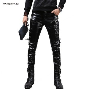 MORUANCLE New Winter Mens Skinny Biker Leather Pants Fashion Faux Leather Motorcycle Trousers For Male Stage Innrech Market.com