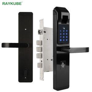 RAYKUBE Biometric Fingerprint Door Lock Intelligent Electronic Lock Fingerprint Verification With Password RFID Unlock R FZ3 Innrech Market.com