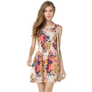 Women summer dress 2019 new fashion Floral print chiffon sleeveless cheap Summer dress plus Size Sleeveless Innrech Market.com