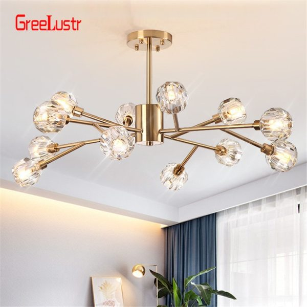 2019 New crystal ball ceiling Lighting Gold branch design lustres ceiling lamp for living dining room Flush Mount Ceiling Light | Ceiling Lamp | New crystal ball ceiling Lighting Gold branch design lustres ceiling lamp for living dining room cristal lighting fixtures Voltage 85-265V