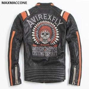 2019 Vintage Black Men Leather Motorcyclist Jacket Skull Embroidery Plus Size 3XL Genuine Cowhide Short Biker Innrech Market.com