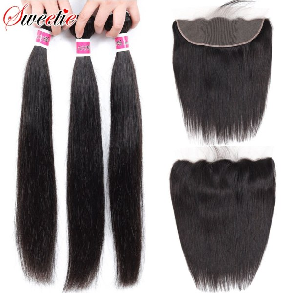 Sweetie 13X4 Ear To Ear Lace Frontal Closure With Bundles Peruvian Straight Human Hair Bundles With Sweetie 13X4 Ear To Ear Lace Frontal Closure With Bundles Peruvian Straight Human Hair Bundles With Frontal Non-Remy Hair