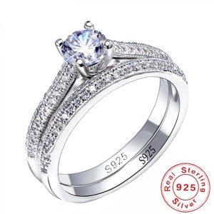 100 925 Sterling Silver Rings for Women Double Simple Design Ring Bijoux Femme Bridal Wedding Jewelry Innrech Market.com
