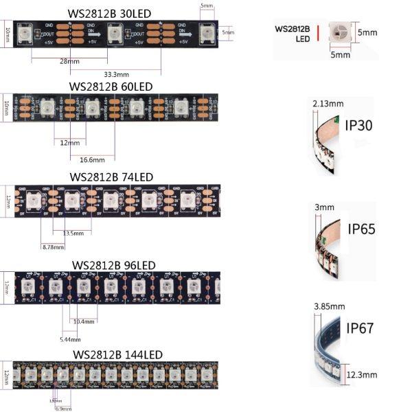 1m 2m 3m 4m 5m WS2812B WS2812 Led Strip Individually Addressable Smart RGB Led Strip Black 1 1m 2m 3m 4m 5m WS2812B WS2812 Led Strip,Individually Addressable Smart RGB Led Strip,Black/White PCB Waterproof IP30/65/67 DC5V