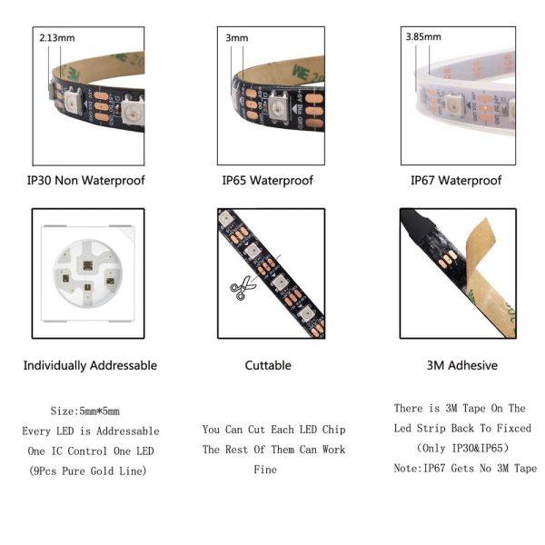 1m 2m 3m 4m 5m WS2812B WS2812 Led Strip Individually Addressable Smart RGB Led Strip Black 3 1m 2m 3m 4m 5m WS2812B WS2812 Led Strip,Individually Addressable Smart RGB Led Strip,Black/White PCB Waterproof IP30/65/67 DC5V