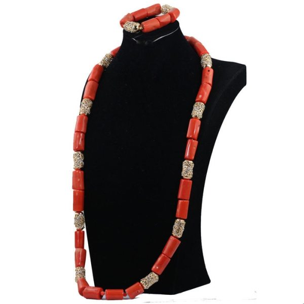 40 inches Big Real Coral Beads Bridal Necklace Set Fashion Men Coral Necklace Jewelry Set Groom 1 40 inches Big Real Coral Beads Bridal Necklace Set Fashion Men Coral Necklace Jewelry Set Groom African Jewelry Set CNR806