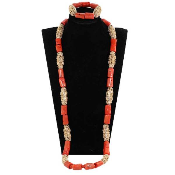 40 inches Big Real Coral Beads Bridal Necklace Set Fashion Men Coral Necklace Jewelry Set Groom 4 40 inches Big Real Coral Beads Bridal Necklace Set Fashion Men Coral Necklace Jewelry Set Groom African Jewelry Set CNR806