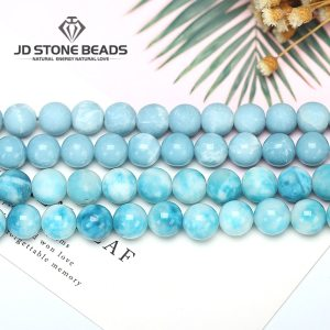 6 8 10 12MM Larimar gemstone Round Loose beads Matte Ocean Sea stone bracelet necklace for Innrech Market.com