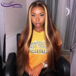 Blonde Lace Front Wigs Highlight Straight Lace Frontal Wig Brazilian Remy Lace Front Human Hair Wig Innrech Market.com