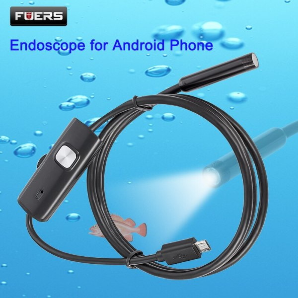 FUERS 2M 1 5M 1M 5 5mm 7mm Endoscope for Android Phone USB Mini Camera Waterproof FUERS 2M 1.5M 1M 5.5mm 7mm Endoscope for Android Phone USB Mini Camera Waterproof 6 LED Borescope Car Inspection Camera for PC