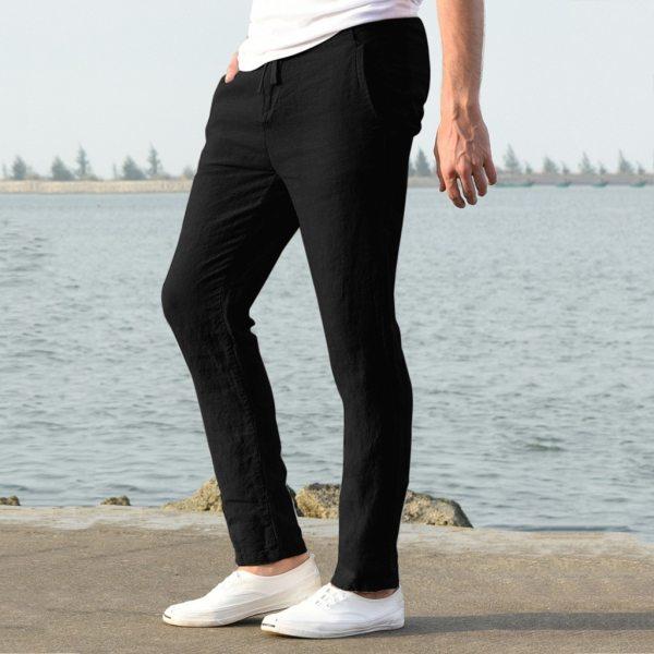 Feitong Fashion Cotton Linen Pants Men Casual Work Solid White Elastic Waist Streetwear Long Pants Trousers 3 Feitong Fashion Cotton Linen Pants Men Casual Work Solid White Elastic Waist Streetwear Long Pants Trousers