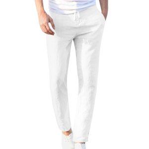 Feitong Fashion Cotton Linen Pants Men Casual Work Solid White Elastic Waist Streetwear Long Pants Trousers Innrech Market.com