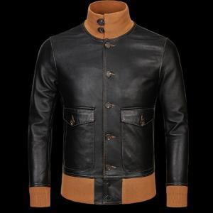 Free shipping mens classic A1 leather Jacket vintage genuine sheepskin coat thin soft black men jackets Innrech Market.com