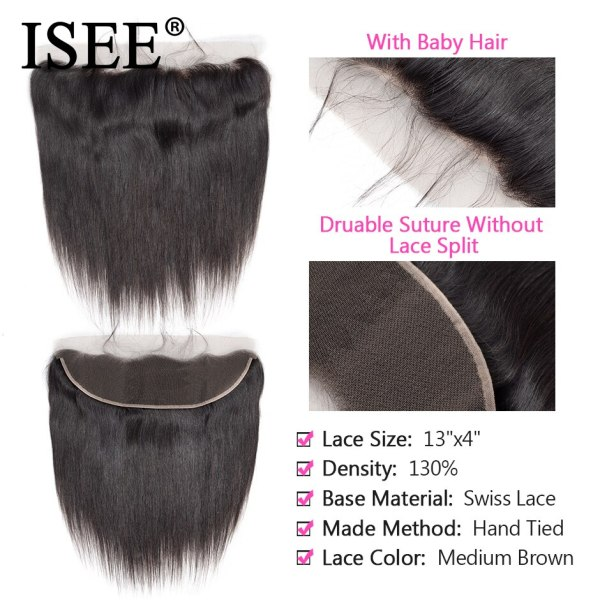 ISEE HAIR Brazilian Straight Hair Bundles With Frontal 13 4 Lace Frontal With Bundles Remy Human 2 ISEE HAIR Brazilian Straight Hair Bundles With Frontal 13*4 Lace Frontal With Bundles Remy Human Hair Bundles With Frontal