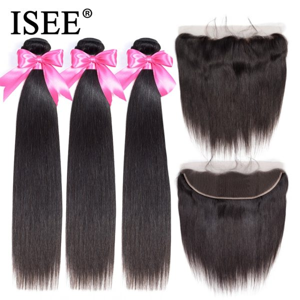 ISEE HAIR Brazilian Straight Hair Bundles With Frontal 13 4 Lace Frontal With Bundles Remy Human ISEE HAIR Brazilian Straight Hair Bundles With Frontal 13*4 Lace Frontal With Bundles Remy Human Hair Bundles With Frontal