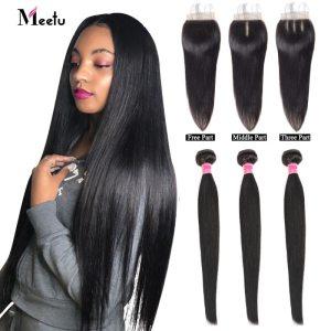 Meetu Malaysian Hair Bundles with Closure Straight Hair Bundles with Closure Natural Human Hair Bundles with Innrech Market.com