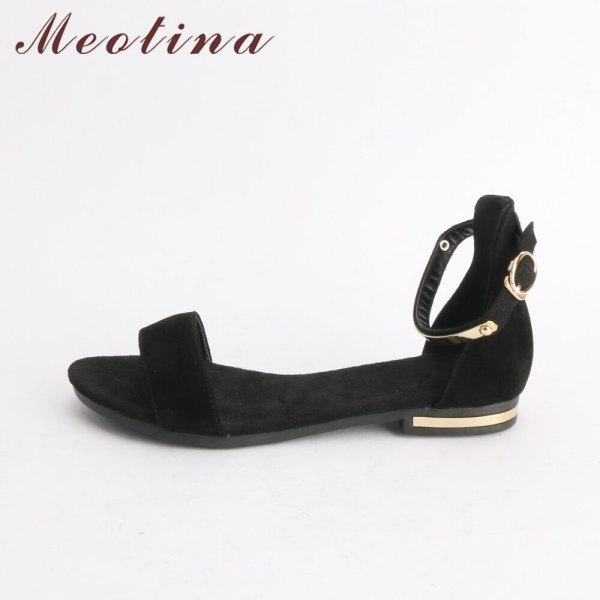 Meotina Genuine Leather Women Sandals Chunky Heels Summer Shoes 2019 Peep Toe Suede Shoes Black Buckle 1 Meotina Genuine Leather Women Sandals Chunky Heels Summer Shoes 2019 Peep Toe Suede Shoes Black Buckle Bling Big Size 33-46 11