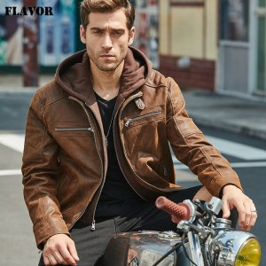 New Men s Leather Jacket Brown Jacket Made Of Genuine Leather With A Removable Hood Warm Innrech Market.com