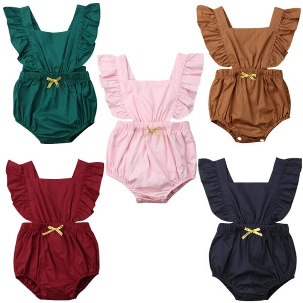 Newborn Baby Girls Ruffle Solid Color Romper Backcross Jumpsuit Outfits Sunsuit Baby Clothing 1 Newborn Baby Girls Ruffle Solid Color Romper Backcross Jumpsuit Outfits Sunsuit Baby Clothing
