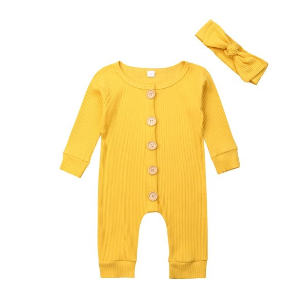 Spring Fall Newborn Baby Girl Boy Clothes Long Sleeve Knitted Romper Headband Jumpsuit 2PCS Outfit 0 1 Spring Fall Newborn Baby Girl Boy Clothes Long Sleeve Knitted Romper + Headband Jumpsuit 2PCS Outfit 0-24M