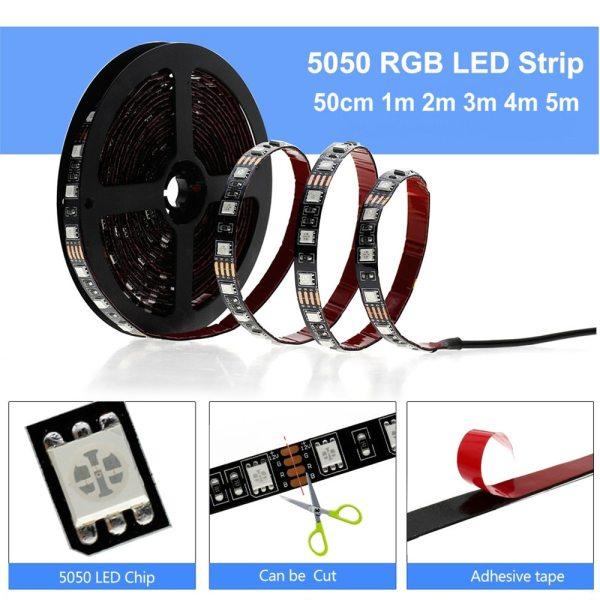 USB LED Strip 5050 RGB Changeable LED TV Background Lighting 50CM 1M 2M 3M 4M 5M 3 USB LED Strip 5050 RGB Changeable LED TV Background Lighting 50CM 1M 2M 3M 4M 5M DIY Flexible LED Light.