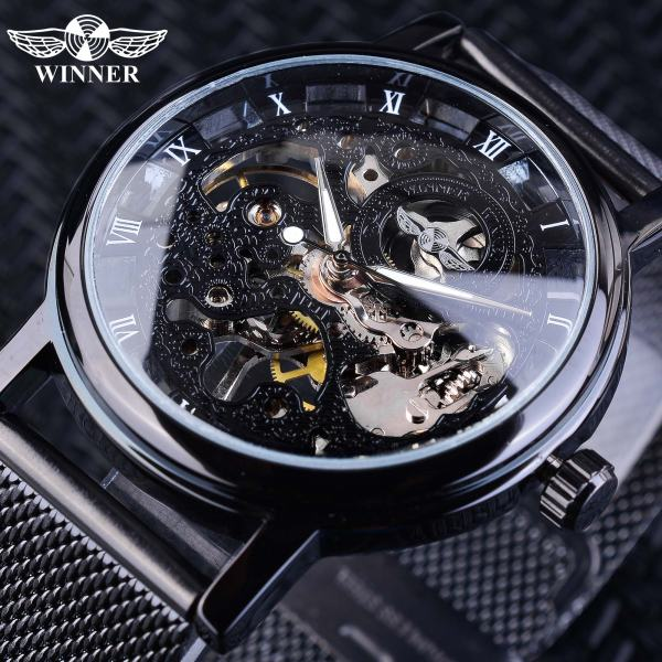 Winner Stainless Steel Mesh Band Transparent Classic Thin Case Hollow Skeleton Mens Male Mechanical Wrist Watch Winner Stainless Steel Mesh Band Transparent Classic Thin Case Hollow Skeleton Mens Male Mechanical Wrist Watch Top Brand Luxury