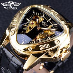 Winner Steampunk Fashion Triangle Golden Skeleton Movement Mysterious Men Automatic Mechanical Wrist Watches Top Brand Innrech Market.com