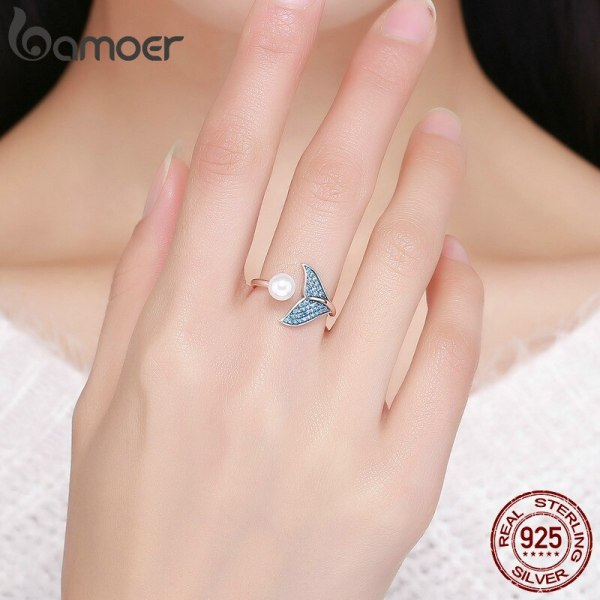 BAMOER Authentic 925 Sterling Silver Adjustable Dolphin Tail Blue CZ Finger Rings for Women Sterling Silver 2 BAMOER Authentic 925 Sterling Silver Adjustable Dolphin Tail Blue CZ Finger Rings for Women Sterling Silver Jewelry Gift SCR286
