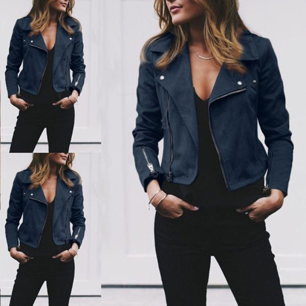 Coat women Ladies Suede Leather Jackets Zip Up Biker Female Casual Coats Woman Flight Coat 1 Coat women Ladies Suede Leather Jackets Zip Up Biker Female Casual Coats Woman Flight Coat
