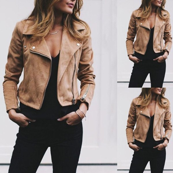 Coat women Ladies Suede Leather Jackets Zip Up Biker Female Casual Coats Woman Flight Coat 2 Coat women Ladies Suede Leather Jackets Zip Up Biker Female Casual Coats Woman Flight Coat