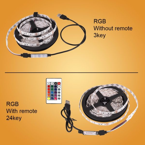 DC 5V LED Strip USB Cable Power Flexible Light Lamp 50CM 1M 2M 3M 4M 5M 1 DC 5V LED Strip USB Cable Power Flexible Light Lamp 50CM 1M 2M 3M 4M 5M SMD 2835 Mini 3Key Desk Decor TV Background Lighting