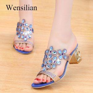Designer Sandals Women 2018 Ladies Slides Women Slippers Sandals Summer Crystal Shoes Peep Toe Middle Heels Innrech Market.com