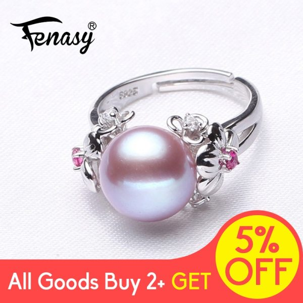 FENASY Big Pearl Jewelry 925 Sterling Silver Ring For Women Natural Freshwater Pearl Ruby Flower Cubic FENASY Big Pearl Jewelry 925 Sterling Silver Ring For Women Natural Freshwater Pearl Ruby Flower Cubic Zirconia CZ Boho Ring