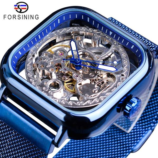 Forsining Blue Watches For Mens Automatic Mechanical Fashion Dress Square Skeleton Wrist Watch Slim Mesh Steel Forsining Blue Watches For Mens Automatic Mechanical Fashion Dress Square Skeleton Wrist Watch Slim Mesh Steel Band Analog Clock