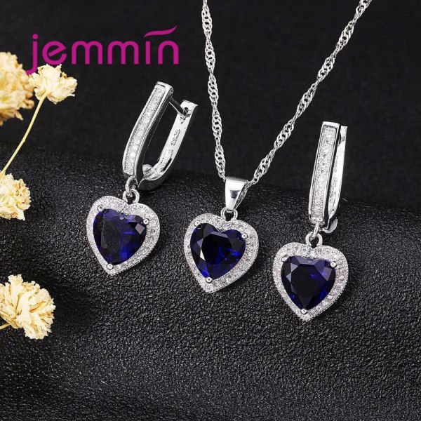Hot Sale Heart Shape Bule Crystal 925 Sterling Silver Necklace And Earrings Set For Women Female 1 Hot Sale Heart Shape Bule Crystal 925 Sterling Silver Necklace And Earrings Set For Women Female Party Engagement
